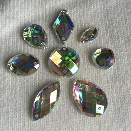 CraftbuddyUS 80 Ab Clear Faceted Acrylic Sew On, Stick on Diamante Crystal Rhinestone Gems