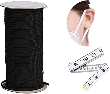 Soft Streach Elasitc Band for DIY Sewing Black, 1//4 inche 6mm 100 Yards Flat Braided Elastic Band for Sewing