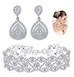 Finrezio Rhinestone Choker Necklace Teardrop Earrings Set for Women Layered Chokers Dangle Earrings Wedding Bridal Jewelry