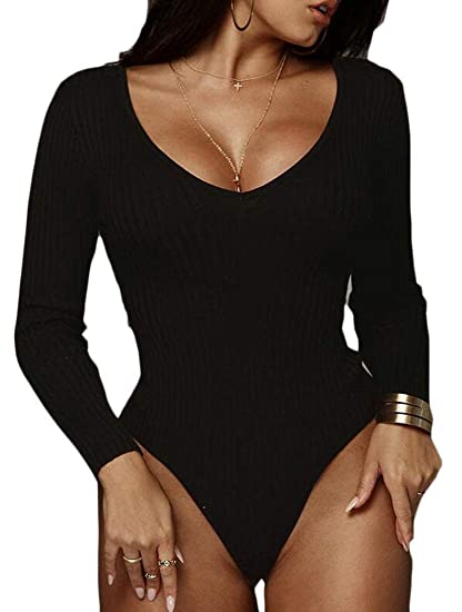 6a83b0c6de30 jiejiegao Womens Ribbed Sexy Long-Sleeves Deep V Neck Club Party Bodysuit  Jumpsuit Black XS