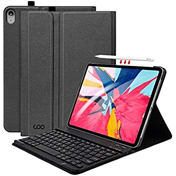 "iPad Pro 11 Keyboard Case with Pencil Holder, Folio Cover Case with Removable Wireless Keyboard for iPad Pro 11"" 2018 - Support Apple Pencil Charging(Dark ..."