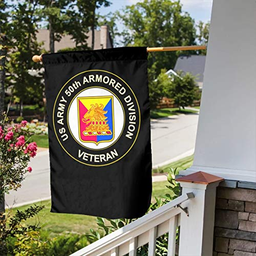 (FLAGERLIN US Army 50th Armor Unit Crest Veteran Double-Sided Decorative Garden Flag Outdoor Patio Seasonal Holiday Family Flag - 12.5x18inch | 28x40inch Home House Flag)