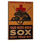 iCanvasART 1-Piece Our Boys Need Sox-Knit Your Bit American Red Cross Vintage Poster Canvas Print by Unknown Artist, 1.5 by 60 by 40-Inch