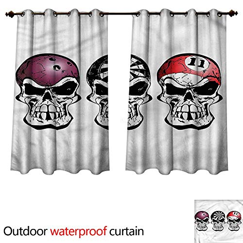 cobeDecor Manly 0utdoor Curtains for Patio Waterproof Bowling Darts Skulls Sketch W55 x L72(140cm x 183cm)