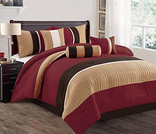 Dovedote Isabella Comforter Set, California King, Burgundy Coffee, 7 Piece (Bedspreads Daybed)