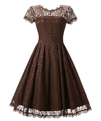 oscilación la Mena cuello Marrón el vendimia 50 noche atractivo de de de inspiró años del Vintage los UK del vestido V SpSqrwA8a