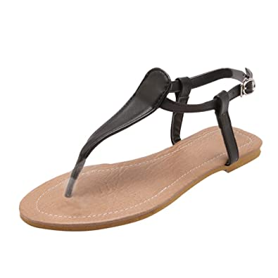 6138e6c255a Women s Flat Flip Flops Sandals Belt Buckle Thong Sandals Casual Roman  Shoes Black
