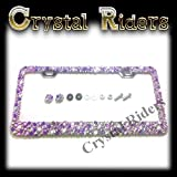 Product review for Bling License Plate Frame with Small Purple Crystal Mix Ab Iridescent 2 Anti theft SCREW CAPS AND SCREWS MADE IN US Clear Metal Chrome Zink Alloy Holder Sparkly Sparkle Custom Hand Made Hand Crafted