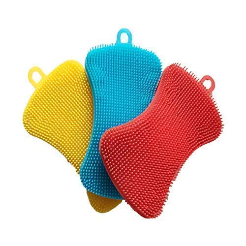 Silicone Sponge Dish Washing Kitchen Scrubber - Magic Food-Grade Antibacterial Dishes Multipurpose Better Sponges Non Stick Cleaning Mildew-Free Smart Kitchen Gadgets Brush Accessories