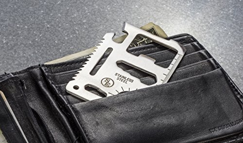 SE MT908 11-Function Stainless Steel Survival Pocket Tool, Blister Packaging