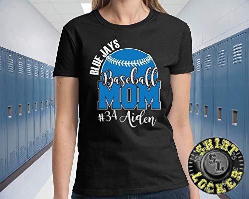 Custom Personalized Baseball Mom Women's Tee Shirt Support Your Team Son Any Number Any Colors Lets Play Ball Spirit -