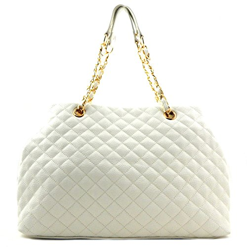 Quilted Convertible Chain Shopper Tote White (Quilted Shopper Tote compare prices)