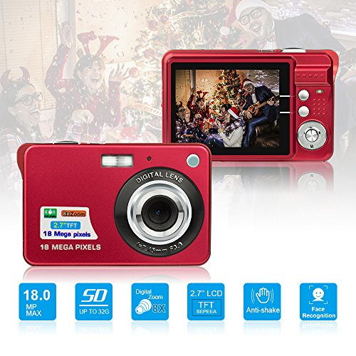 - HD Mini Digital Cameras,Point and Shoot Digital Cameras for Kids Teenagers Beginners-Travel,Camping,Outdoors,School (Red 1)