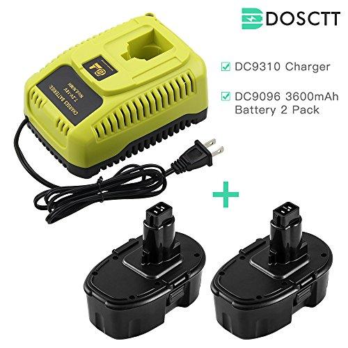 2 Packs DC9096 3.6Ah Ni-MH Replace for Dewalt 18V Battery and DC9310 Charger for Dewalt 7.2V 9.6V 12V 14.4V 18V Ni-Cd Ni-Mh Batteries