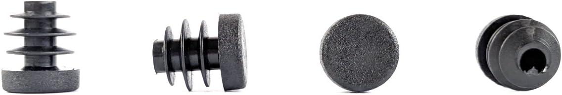 paquete de 8 Tapones de inserci/ón redondos de pl/ástico negro y acanalados