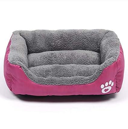 WALSITK Estera para Perros Anti-mordedura Antideslizante Caramelo Color Cuadrado cálido Mascota Nido Gato Perrera Moda Mascotas Suministros púrpura 43x32cm