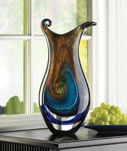 Home Vase Swirled Blue Tabletop Color Art Glass Flower Decorative Tall Unique Centerpiece Arrangement from DecorDuke