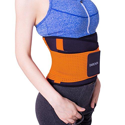 DARCHEN Waist Trimmer Adjustable Waist Trainer Sweat Belt Men Women Weight Loss Back Support Belts wtih 4 Back Bones Flexible (Orange, XX-Large)