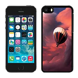 Customized Phone Case Design with Fantasy Hot Air Balloon Clouds And Planet iPhone 5C Wallpaper