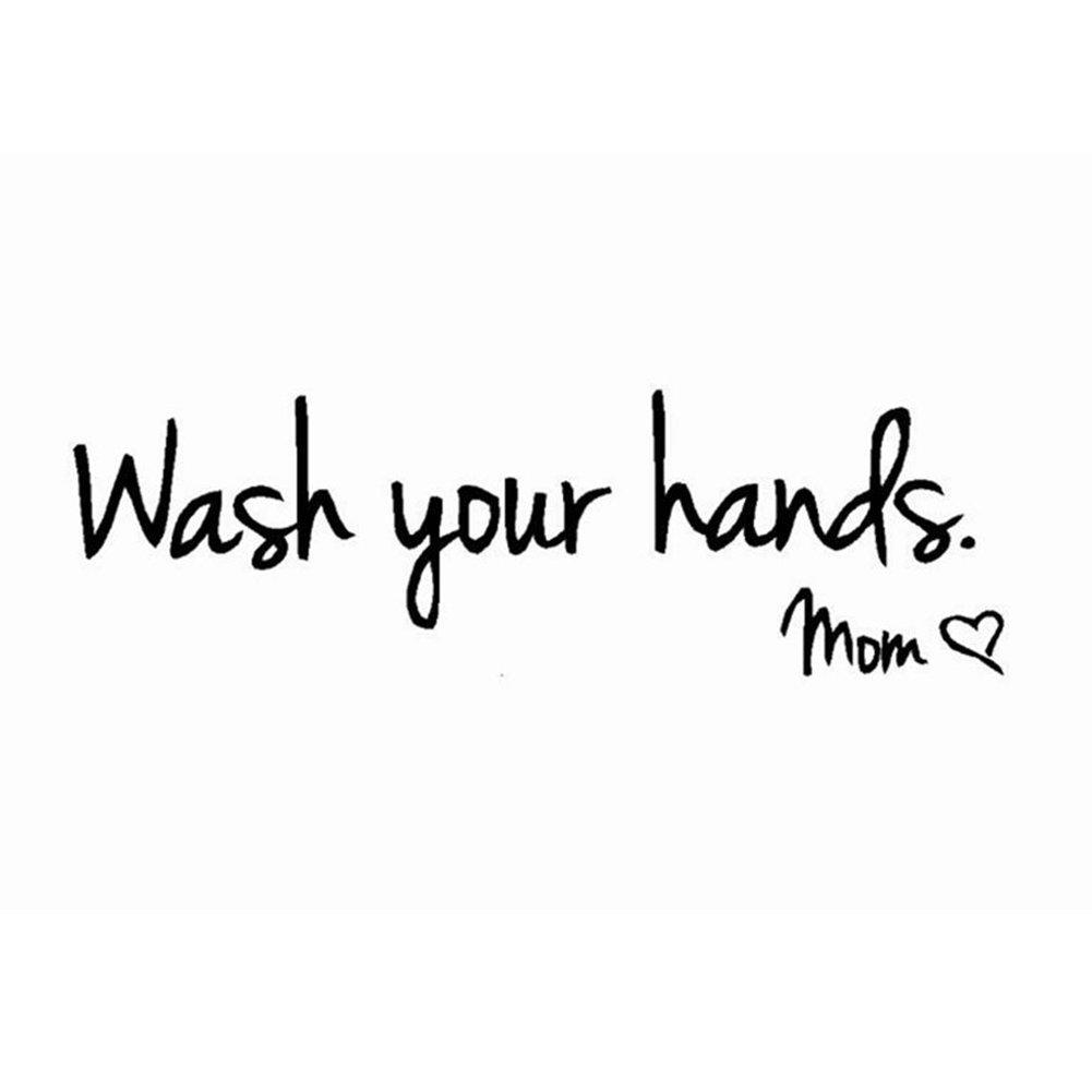Kaariss DIY PVC Wash Your Hands Love Mom Quote Bathroom Wall Stickers Waterproof Art Vinyl Decal Bathroom Wall Decor