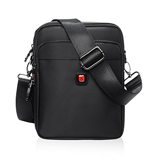 Soperwillton Vintage Water Resistant Oxford Waist/Shoulder Multipurpose CrossBody Bag for Man, With Removable Strap (1054,Large With Extra Waistband)