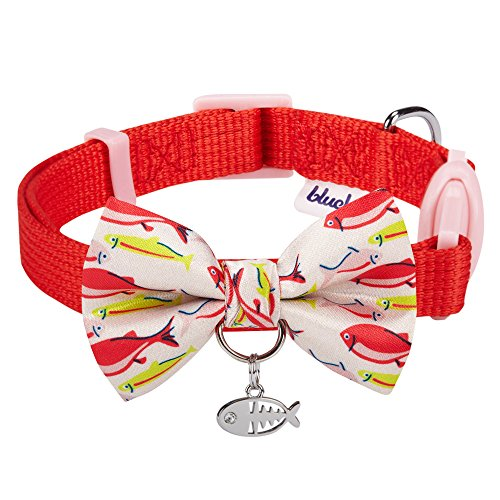 Blueberry Pet 18 Designs Timeless Scarlet Red Breakaway Adjustable Chic Fish Print Handmade Bow Tie Cat Collar with European Crystal Bead on Fish Charm, Neck 9
