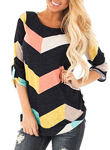 mitilly-womens-scoop-neck-multicolor-chevron-striped-3-4-sleeve-casual-tee-shirt-tops-small-black