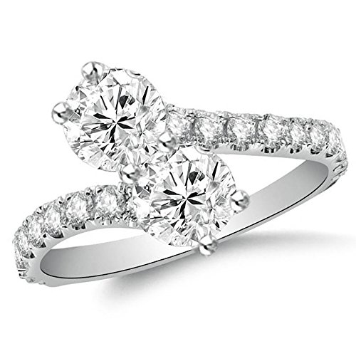 OMEGA JEWELLERY Forever Us 2.96 Ct Round Simulated Diamond Solitaire Bypass Ring In 14K White Gold