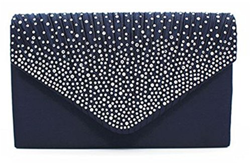Nodykka Women Evening Envelope Rhinestone Frosted Handbag Party Bridal Clutch Purse Shoulder Cross Body Bag,One Size,Dark Blue