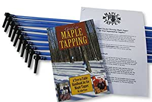 """Maple Tree Tapping Kit (Pack of 10) - 5/16"""" Tree Saver Sap Taps + 3 Ft. Blue Drop Line Tubes, Pre-assembled - Plus 80 Page How to Book """"Guide to Maple Tapping"""""""