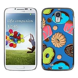 Azul real caramelo Bites - Metal de aluminio y de plástico duro Caja del teléfono - Negro - Samsung Galaxy S4