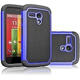 Motorola Moto G Case, Tekcoo(TM) [Tmajor Series] Shock Absorbing Hybrid Rubber Plastic Impact Defender Rugged Slim Hard Case Cover For Motorola Moto G (1st Gen only) 3G / 4G LTE (Blue / Black)