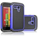 moto g gen 1 case - Motorola Moto G Case, Moto G 1st Gen Case, Tekcoo(TM) [Tmajor Series] Shock Absorbing Hybrid Rubber Plastic Impact Defender Rugged Slim Hard Case Cover For Moto G 3G / 4G LTE (Blue / Black)