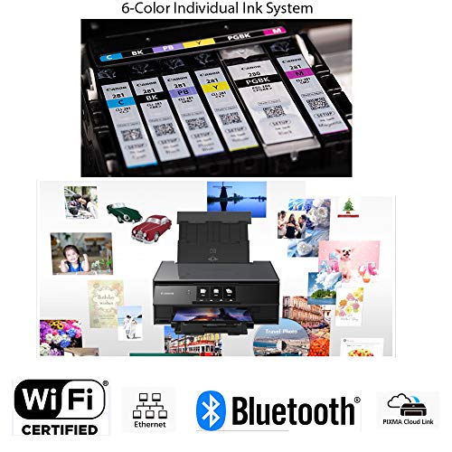Canon Pixma TS9120 Wireless Inkjet All-in one Printer (Gray) with Scan, Copy, Mobile Printing, Airprint & Google Cloud + Set of Ink Tanks + Photo Paper Sample + USB Printer Cable + HeroFiber Cloth by HeroFiber (Image #4)