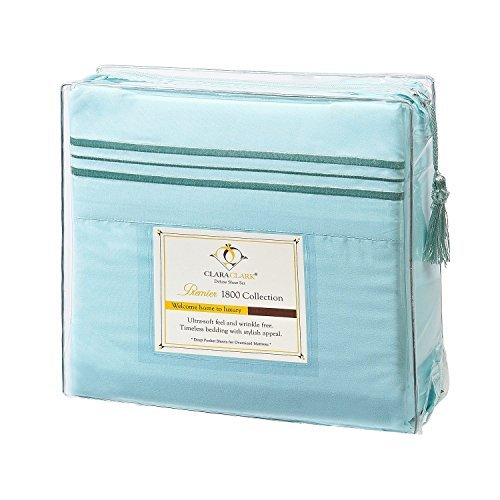 Clara Clark Premier 1800 Series 4pc Bed Sheet Set - Queen, Aqua Light Blue, Hypoallergenic, Deep Pocket
