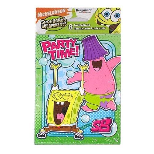 SpongeBob Squarepants Birthday Party Invitations & Thank You Set - PARTY TIME! (Spongebob Party Invitations Birthday Squarepants)