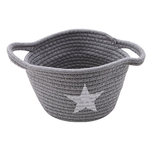 Dolland Cotton Storage Bins Small Cute Cotton Rope Basket Woven Desktop Handmade Mini With Handle,Gray,One Size (Rope Set Woven Boxes)