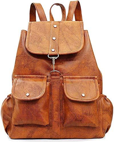Ivaan PU Leather Backpack School Bag Student Backpack Women Travel Bag 6 L Backpack  M, Tan
