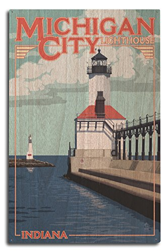 Lantern Press Indiana - Michigan City Lighthouse (10x15 Wood Wall Sign, Wall Decor Ready to Hang) (Michigan City Lighthouse)
