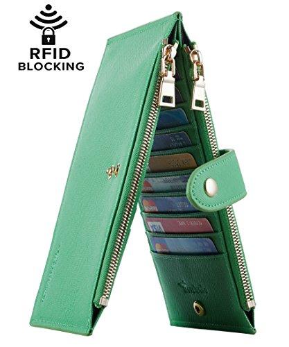 Green Ladies Purse Accessories - Travelambo Womens Walllet RFID Blocking Bifold Multi Card Case Wallet with Zipper Pocket (CH Green Grass 7307)