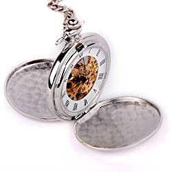 ShoppeWatch Skeleton Pocket Watch Mechanical Movement Hand Wind Full Hunter Silver Tone Engravable PW-20
