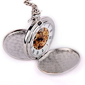 ShoppeWatch Skeleton Pocket Watch Mechanical Movement Hand Wind Full Hunter Silver Tone Engravable PW20