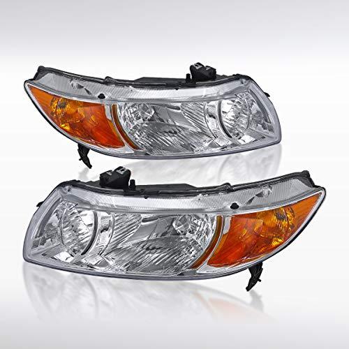 Autozensation For Honda Civic 2Door Coupe Crystal Chrome Headlights+Amber Reflector - 2 Civic Door Honda 2007