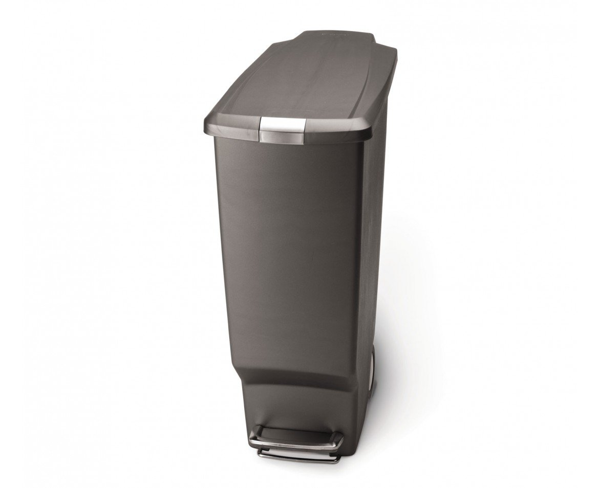 simplehuman 40-Liter Slim Plastic Step Can, Grey by simplehuman