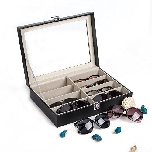 (CO-Z Leather Multi Sunglasses Organizer for Women Men, Eyeglasses Eyewear Display Case, Jewelry Watch Organizer, Sunglasses Jewelry Collection Case, Sunglass Glasses Storage Holder Box with 8 Slots)