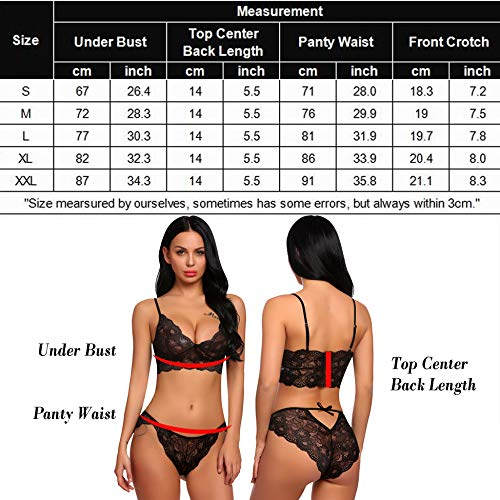 fcb2c45744f ADOME Women s Lace Lingerie Bra and Panty Set Strappy Babydoll Bodysuit  Black S