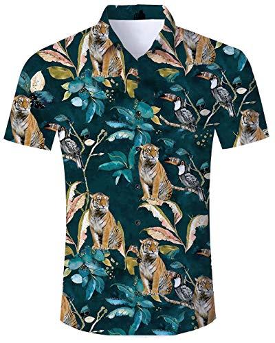 TUONROAD Adult Casual Youth Traditional Tropic Aloha Luau Shirt Tiger Branch Toucan Parrot Big Mens Vintage Party Button Down Shirt Holiday Short Sleeve Shirt Vintage Hawaiian Shirts ()