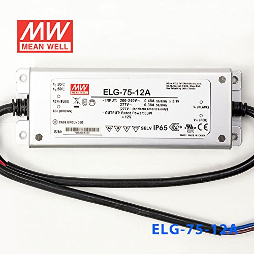 Meanwell ELG-75-12A Power Supply - 60W 12V 5A - Adjustable - IP65