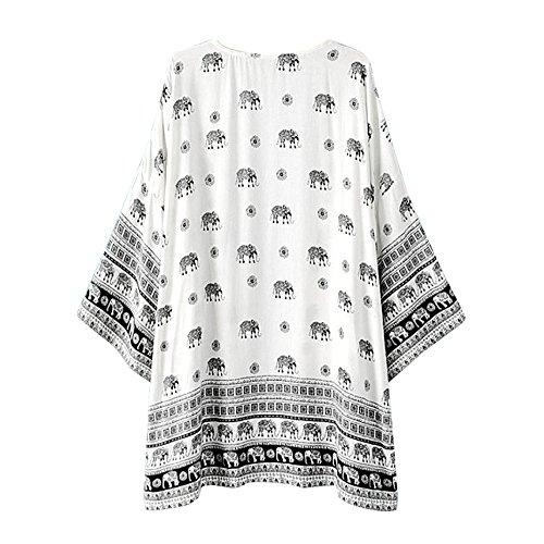 Perman Women Girls Elephant Printed Kimono Cardigan Coat Tops Cover Up Blouse - Overseas Usps Shipping