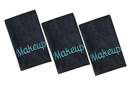 Luxury 100% Cotton Makeup Removal and Cleansing Embroidered Finger-Tip Towels by Home Bargains Plus, New Colors, Set of 3 Make-Up Finger-Tip Towels, Black with Aqua Embroidery - Supple Tip